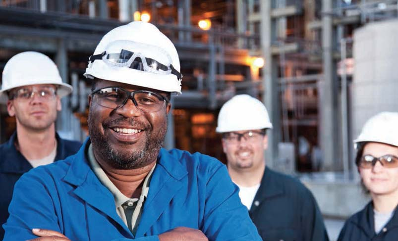 Power Plant Employees in Hard Hats and Safety Glasses